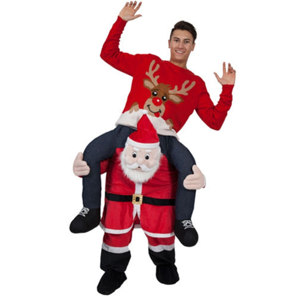 Adult Carry Me (Ride On) Costume Santa Claus Mascot Pants – One Size
