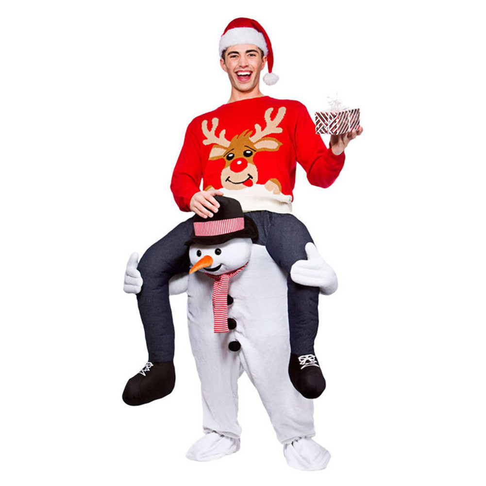 Adult Carry Me (Ride On) Costume Snowman Mascot Pants – One Size