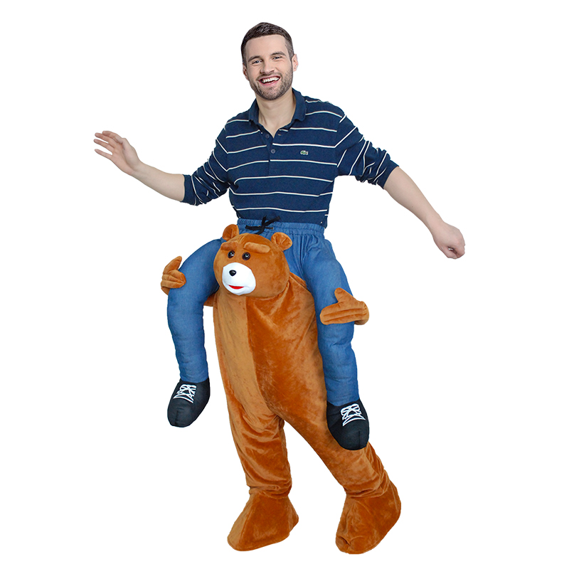 Adulto Carry Me (Ride On) Costumi Orso Pantaloni Mascot Carnevale Halloween