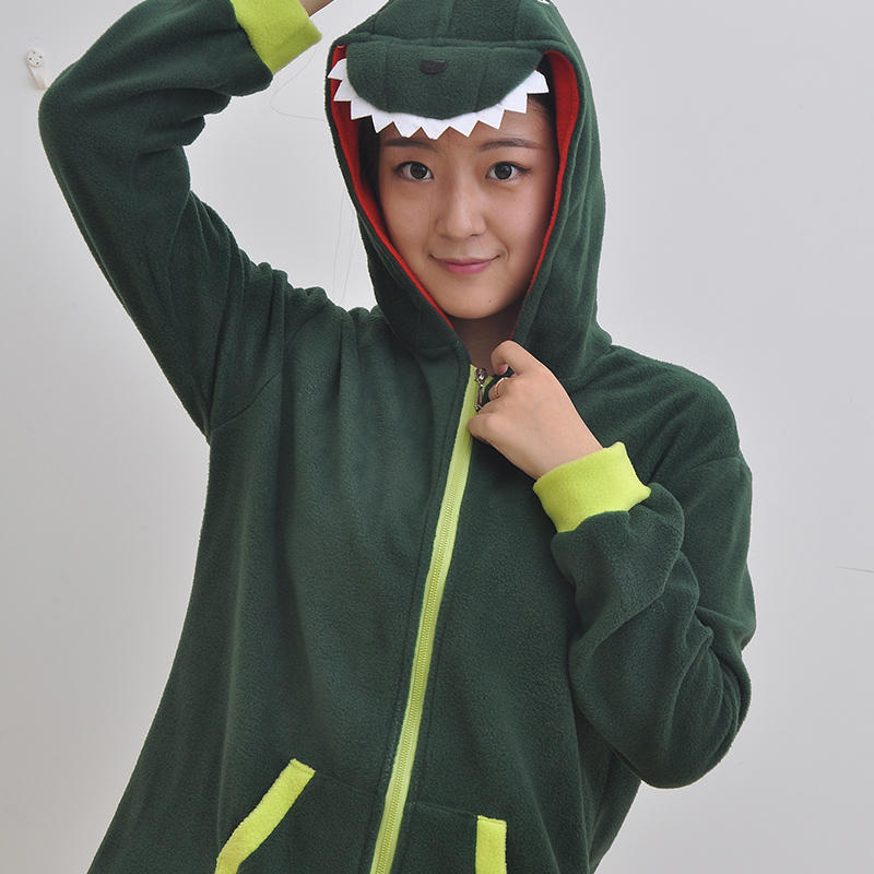 Adult Animal Sweater Green Dinosaur Polar Flleece Sweater Hoodies