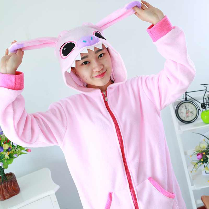 Adult Animal Sweater Pink Stitch Polar Flleece Sweater Hoodies
