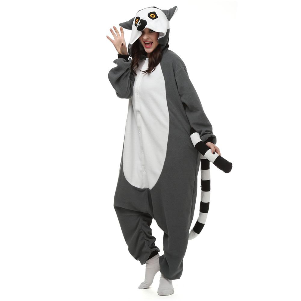 Lemur Catta Kigurumi Costumi Unisex Fleece Pigiama Onesie