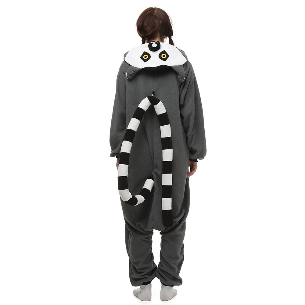 Ringstaartmaki Kigurumi Kostuum Unisex Vlies Pyjama Onesie