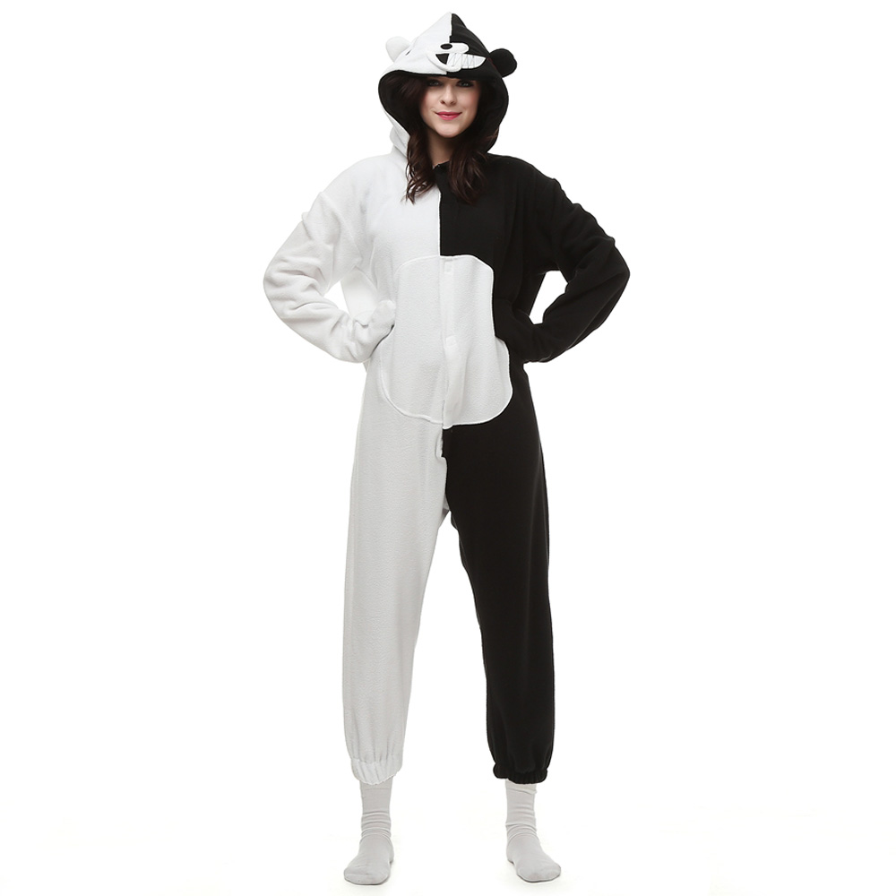 Black White Bear Kigurumi Costume Unisex Fleece Pajamas Onesie