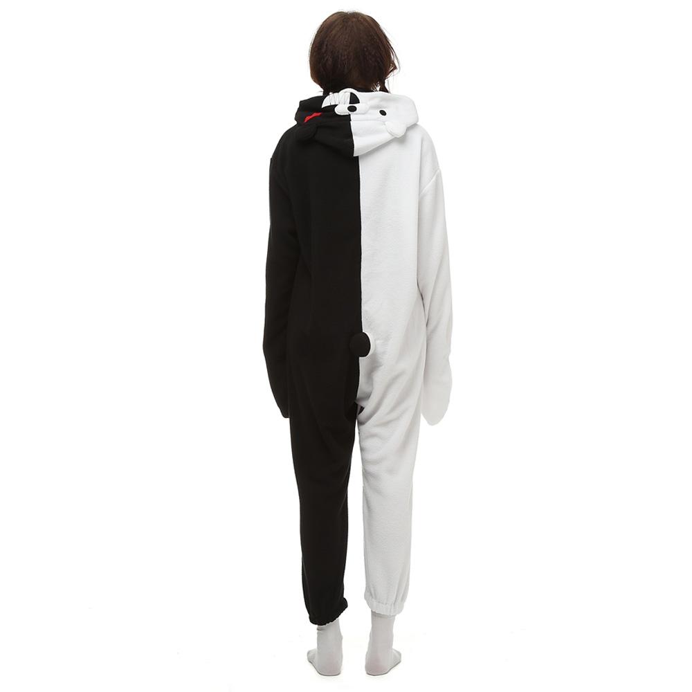 Zwart Wit Bear Kigurumi Kostuum Unisex Vlies Pyjama Onesie