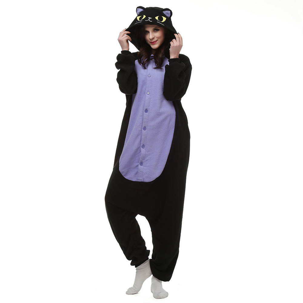 Midnight Cat Kigurumi Costume Unisex Fleece Pajamas Onesie