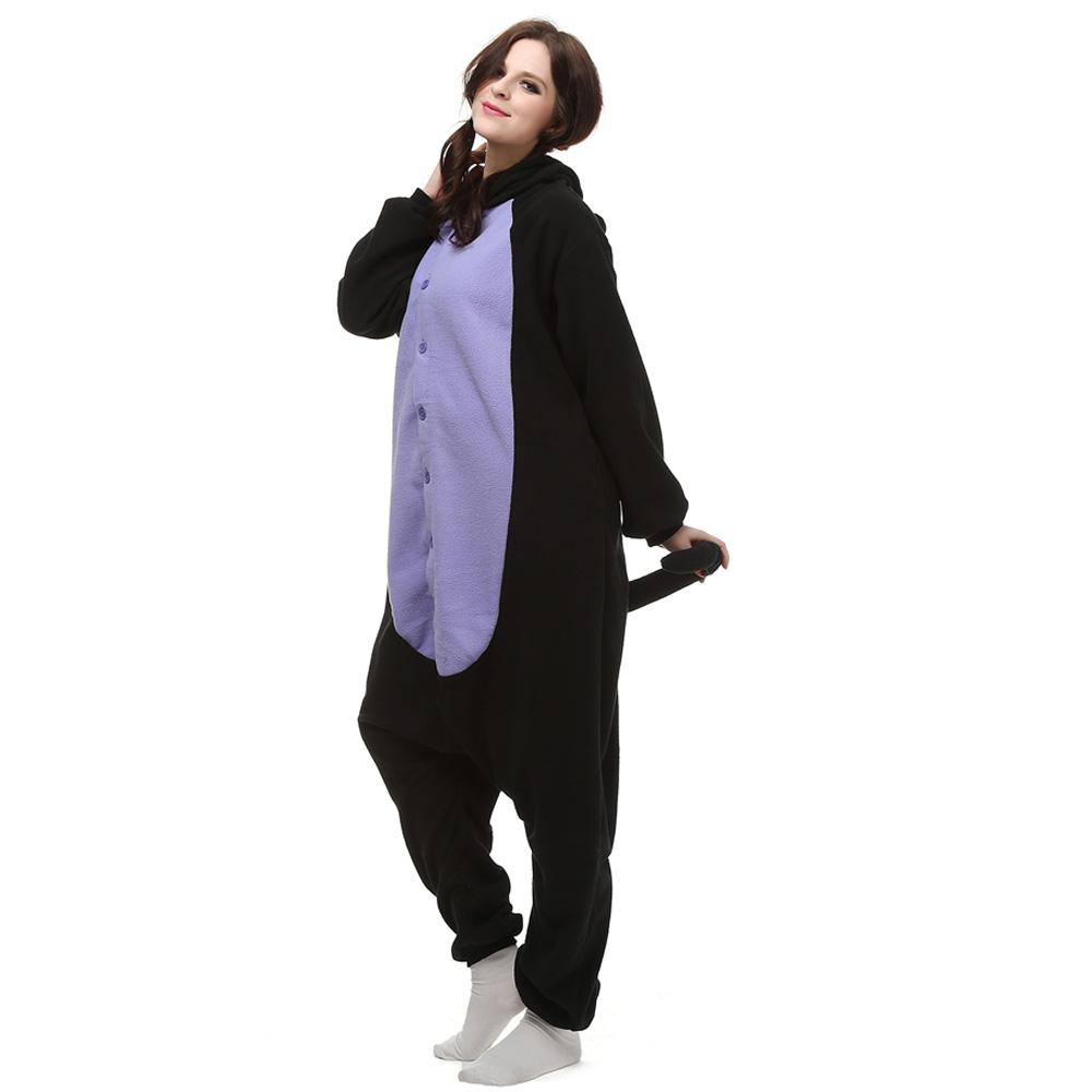 Midnight Cat Kigurumi Kostuum Unisex Vlies Pyjama Onesie