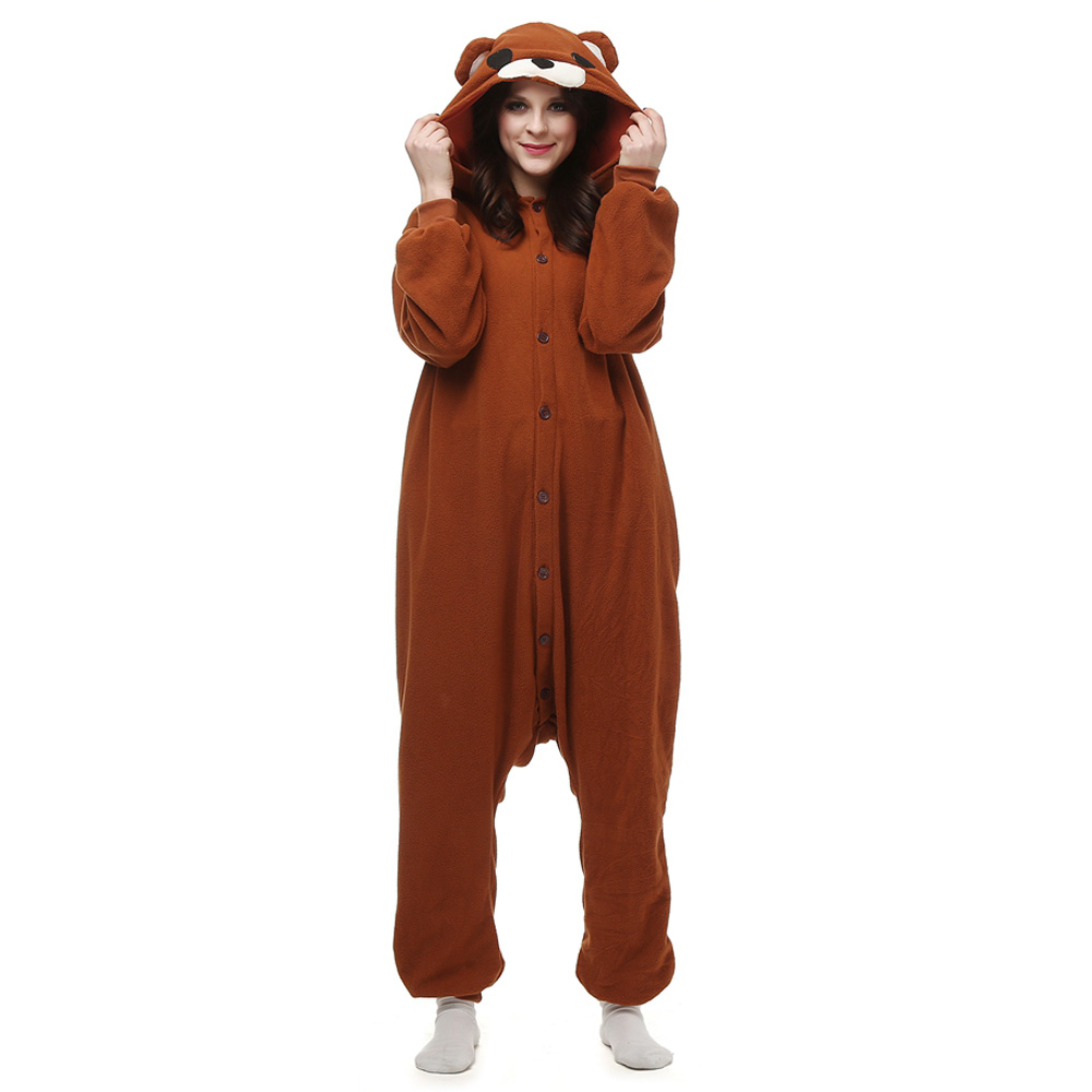 Brown Bear Kigurumi Costume Unisex Fleece Pajamas Onesie