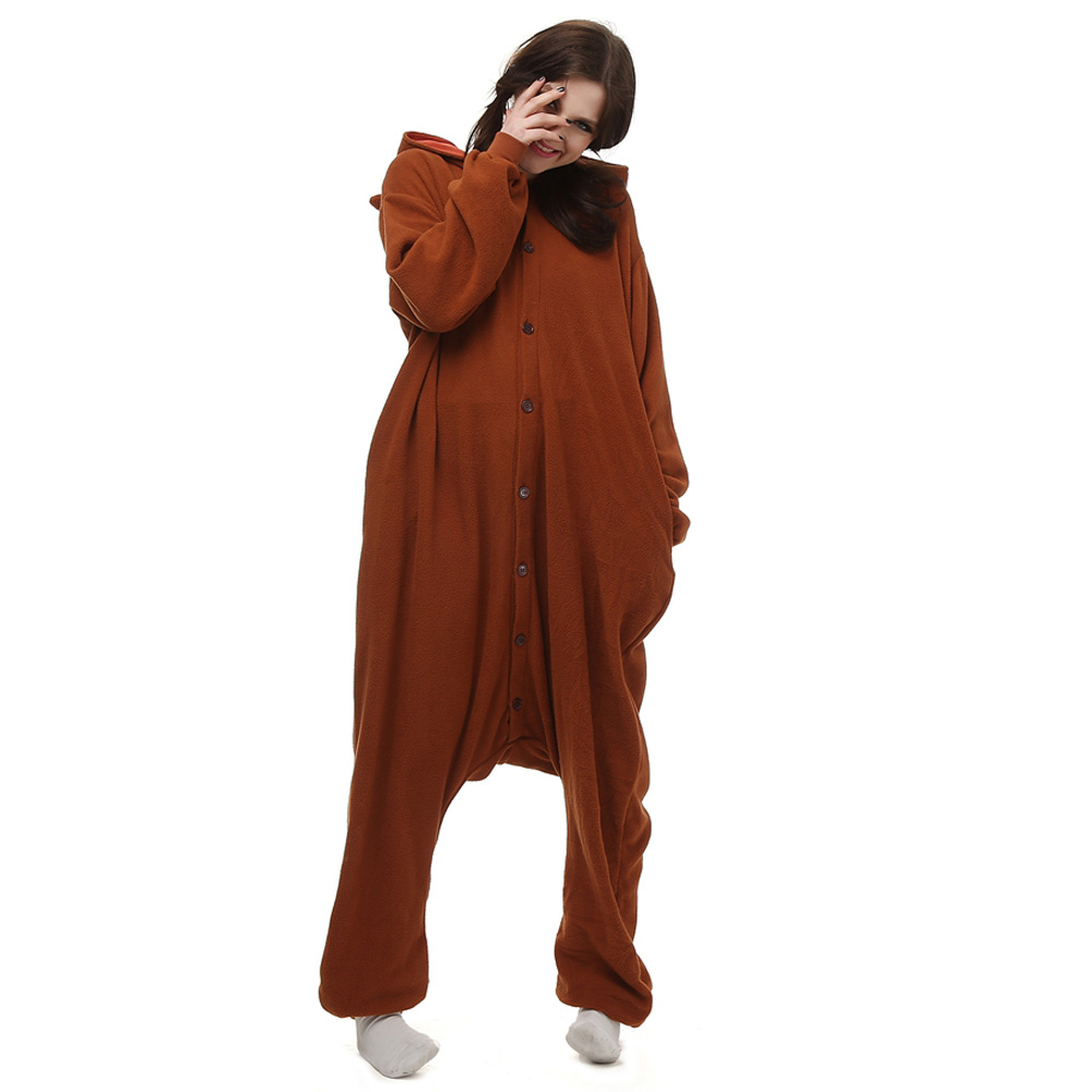 Bbruine Beer Kigurumi Kostuum Unisex Vlies Pyjama Onesie