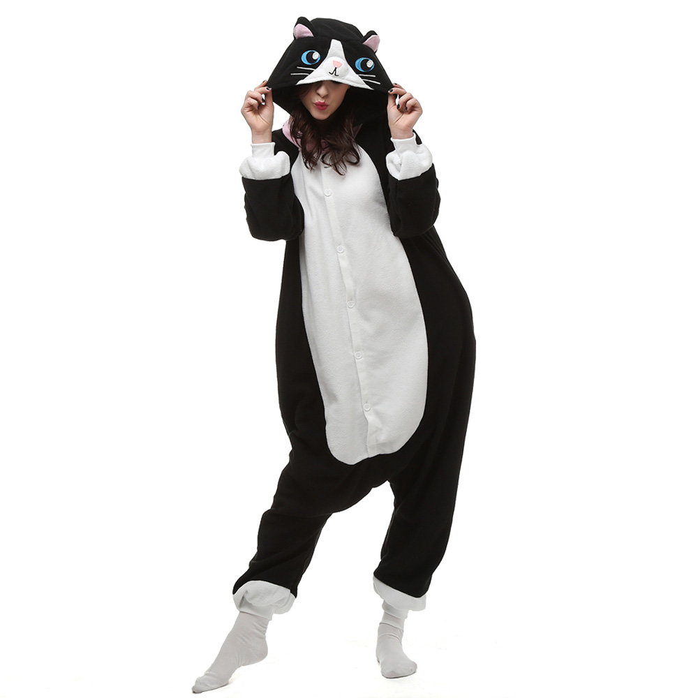 Sort Kat Kigurumi Kostume Fleece Pyjamas Onesie