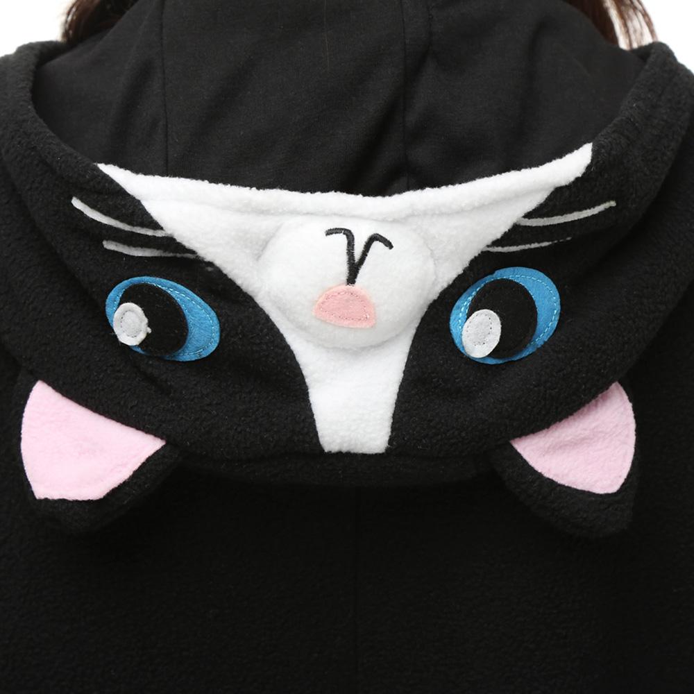 Zwart Cat Kigurumi Kostuum Unisex Vlies Pyjama Onesie