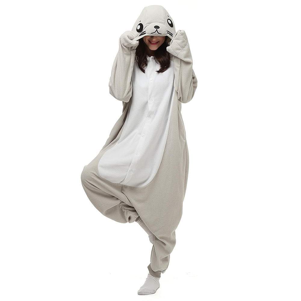 Seal Kigurumi Costume Unisex Fleece Pajamas Onesie