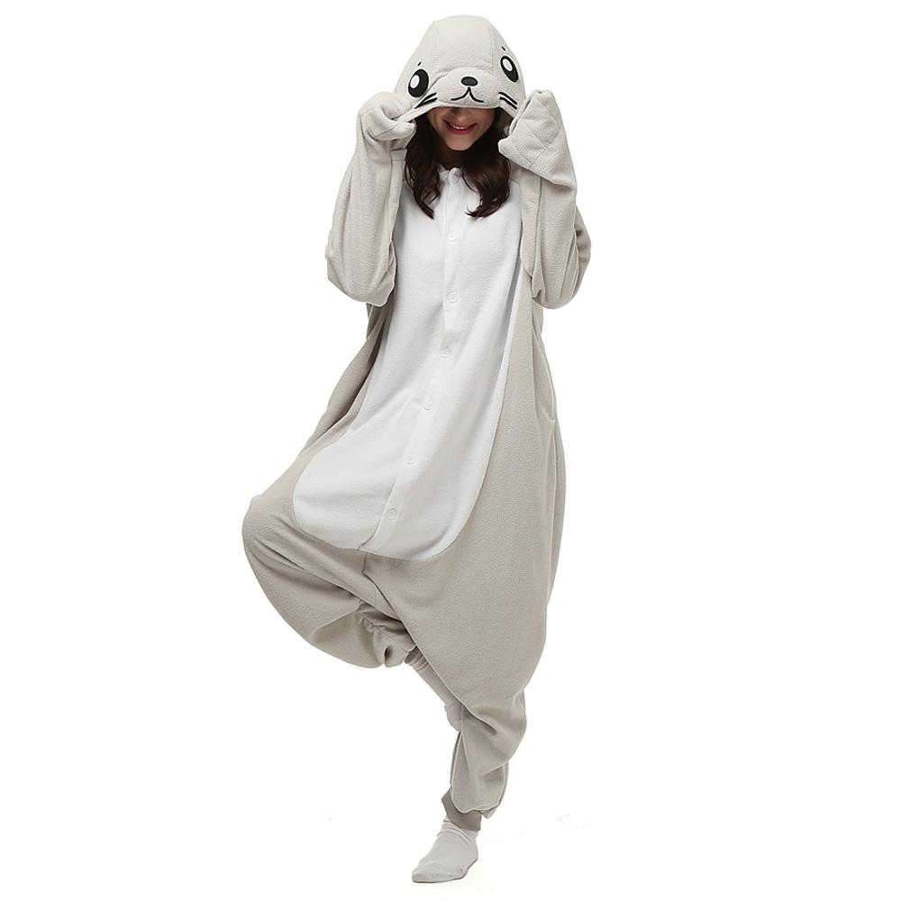 Säl Kigurumi Kostym Polär Ull Pyjamas Onesie Halloween Festival