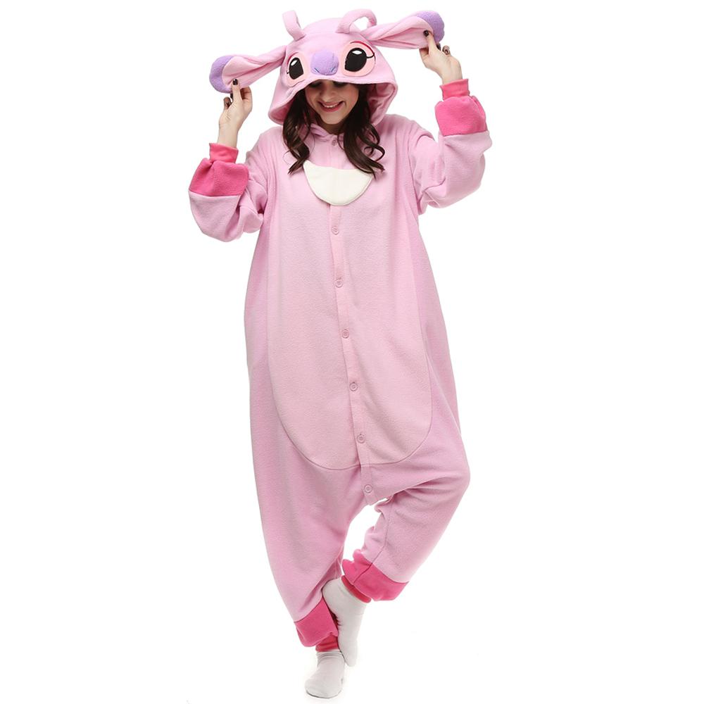 Rosa Stitch Kigurumi Costumi Unisex Fleece Pigiama Onesie