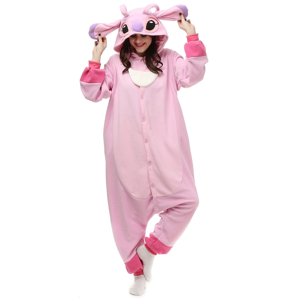 Rosa Stitch Kigurumi Kostym Polär Ull Pyjamas Onesie Halloween Festival