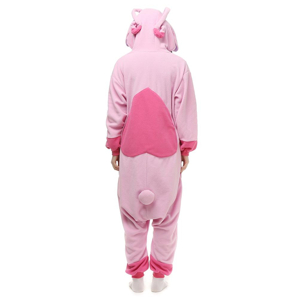 Roze Stitch Kigurumi Kostuum Unisex Vlies Pyjama Onesie