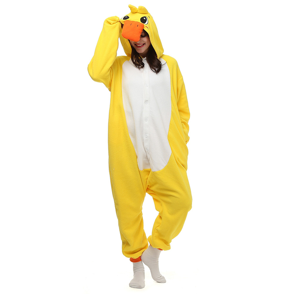 Amarillo Patos Pijamas Kigurumi Disfraces Unisex Franela Onesie