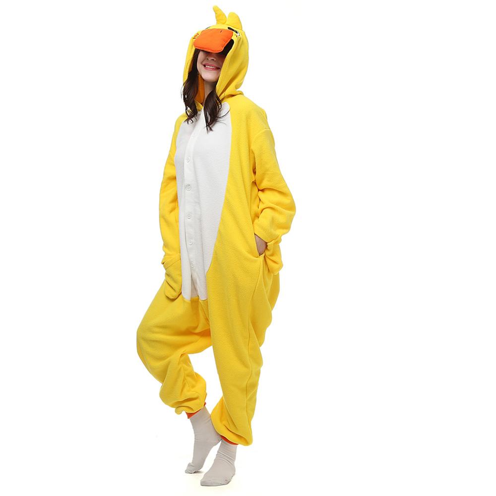 Geel Dunk Kigurumi Kostuum Unisex Vlies Pyjama Onesie
