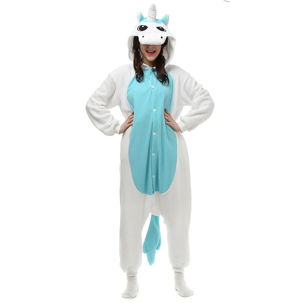Blue Unicorn Kigurumi Costume Unisex Fleece Pajamas Onesie