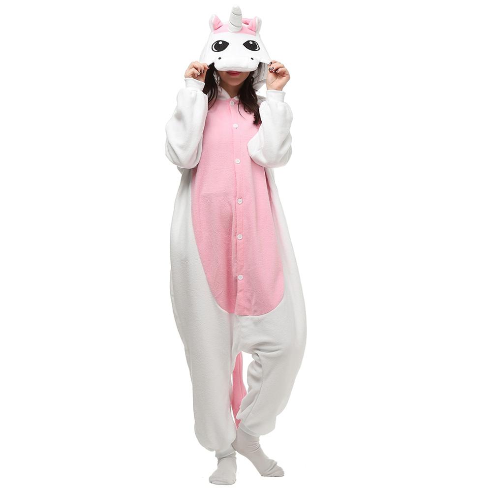 Roze Eenhoorn Kigurumi Kostuum Unisex Vlies Pyjama Onesie