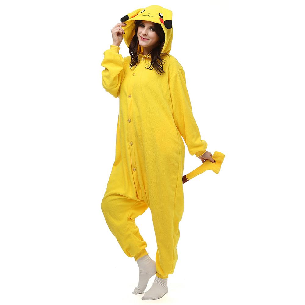 Pokemon Pikachu Kigurumi Fantasia Cosplay Lã Pijamas Onesie