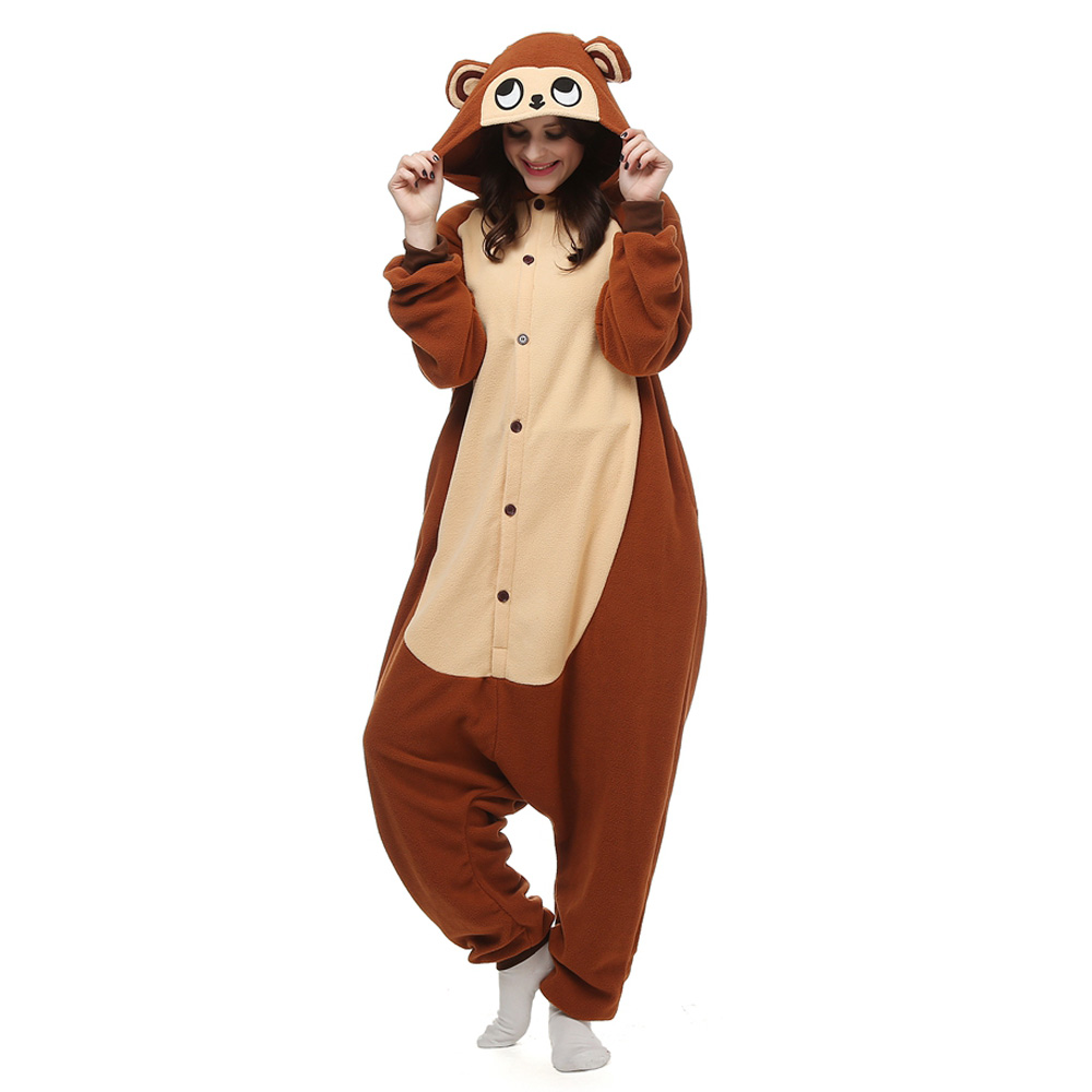 Monkey Kigurumi Costume Unisex Fleece Pajamas Onesie