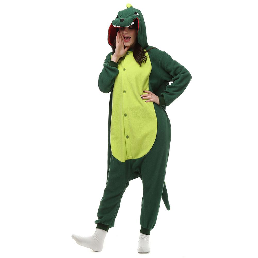 Dinossauro Verde Kigurumi Fantasia Cosplay Lã Pijamas Onesie