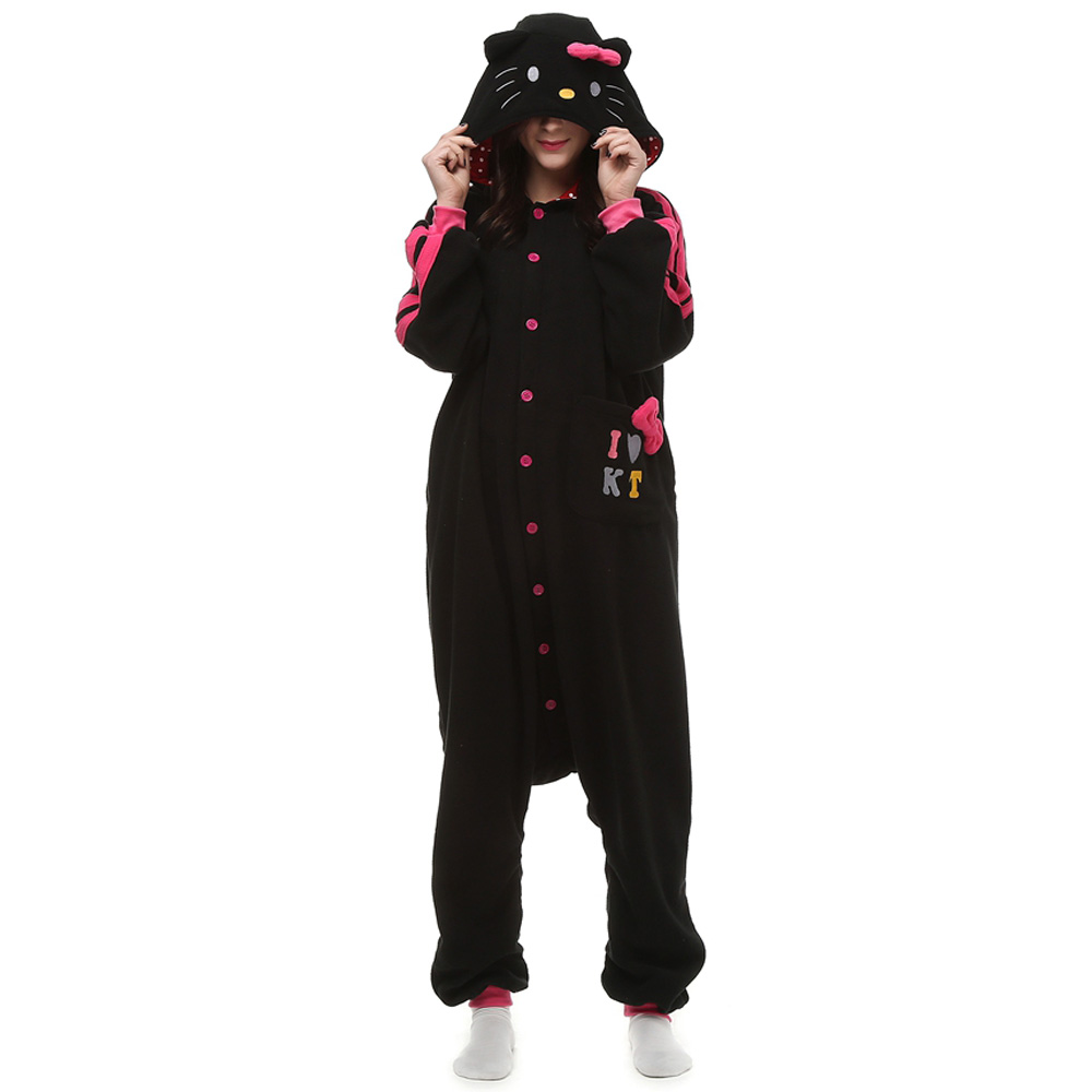 Black KT Cat Kigurumi Costume Unisex Fleece Pajamas Onesie