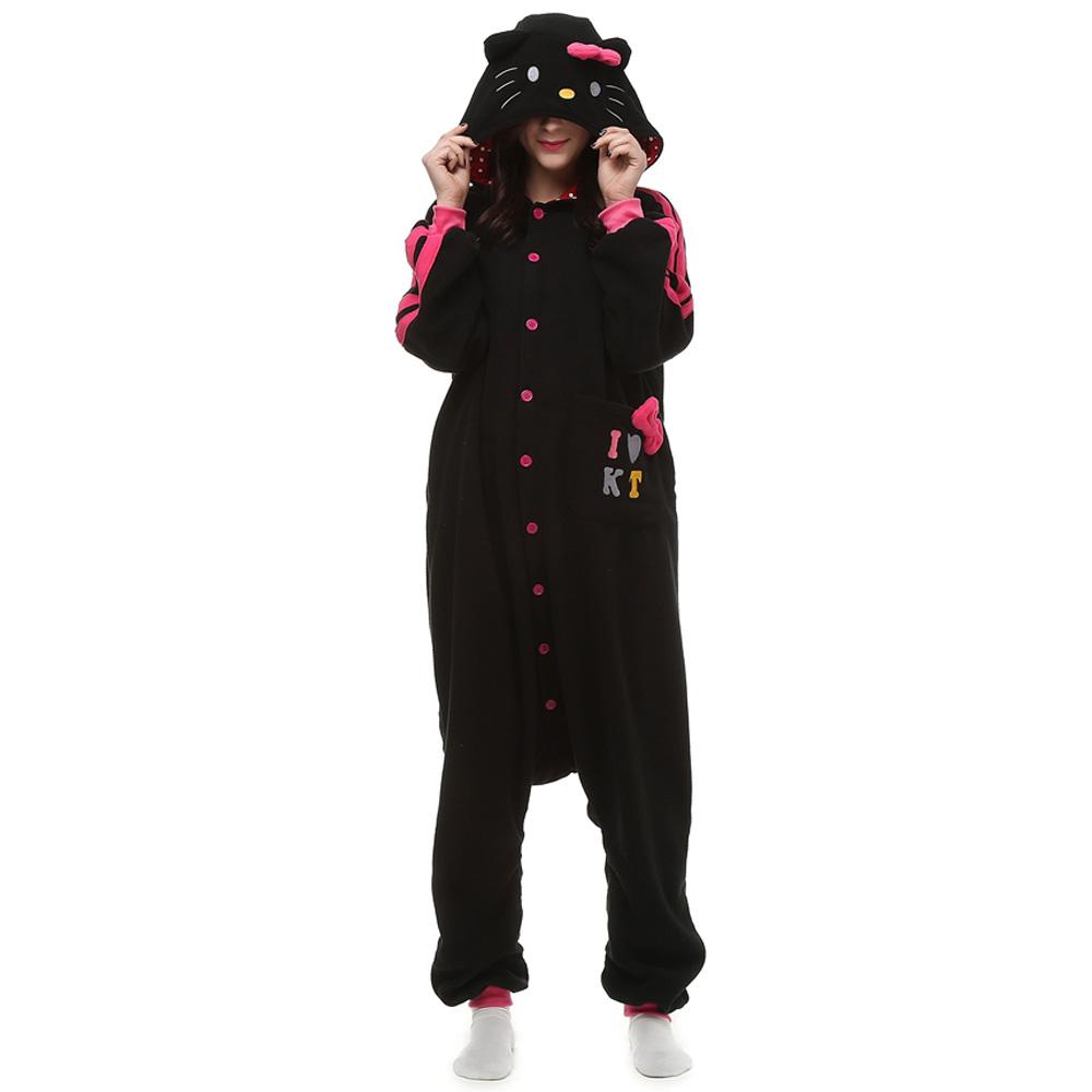 Zwart KT Cat Kigurumi Kostuum Unisex Vlies Pyjama Onesie