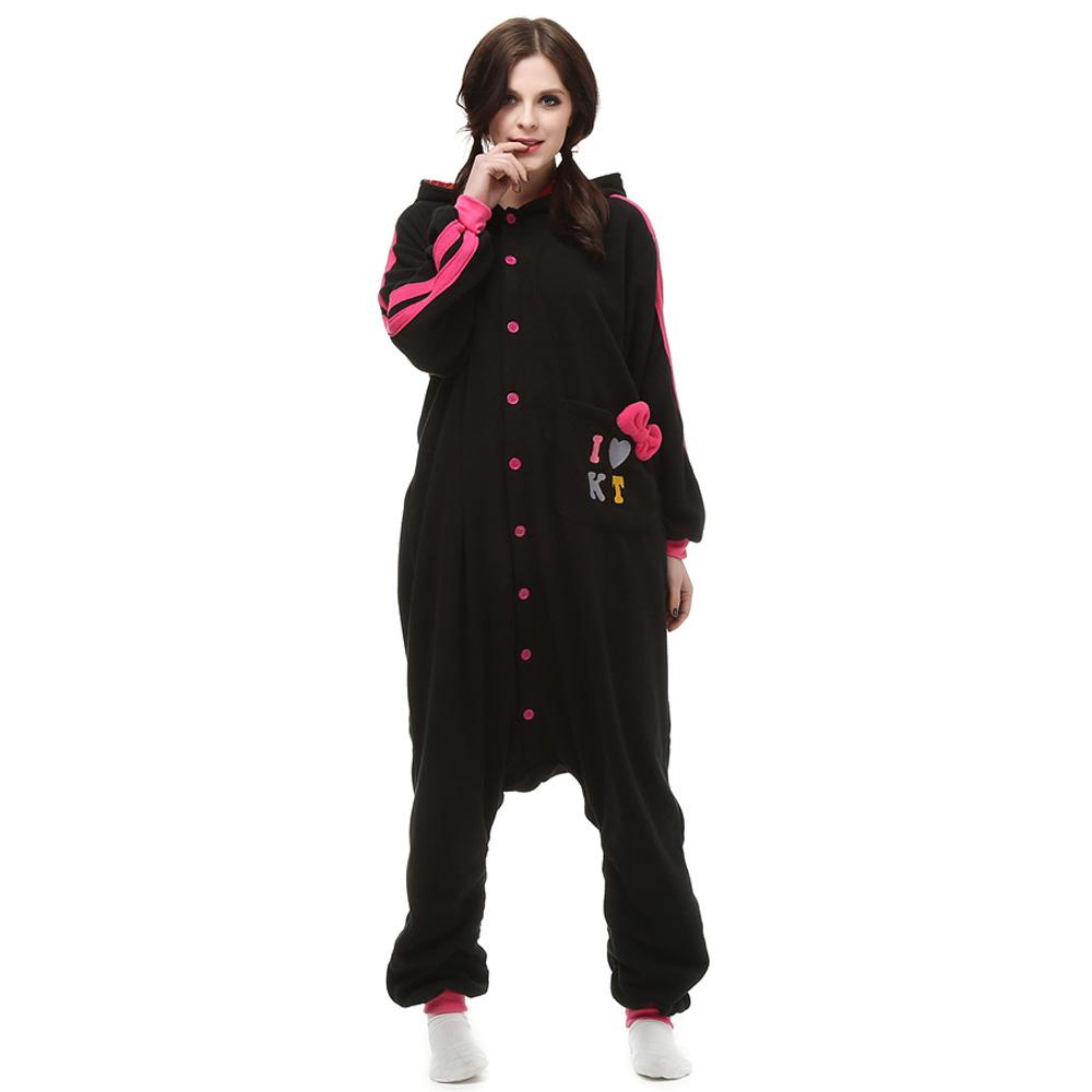 Black KT Cat Kigurumi Costume Unisex Fleece Pajamas Onesie