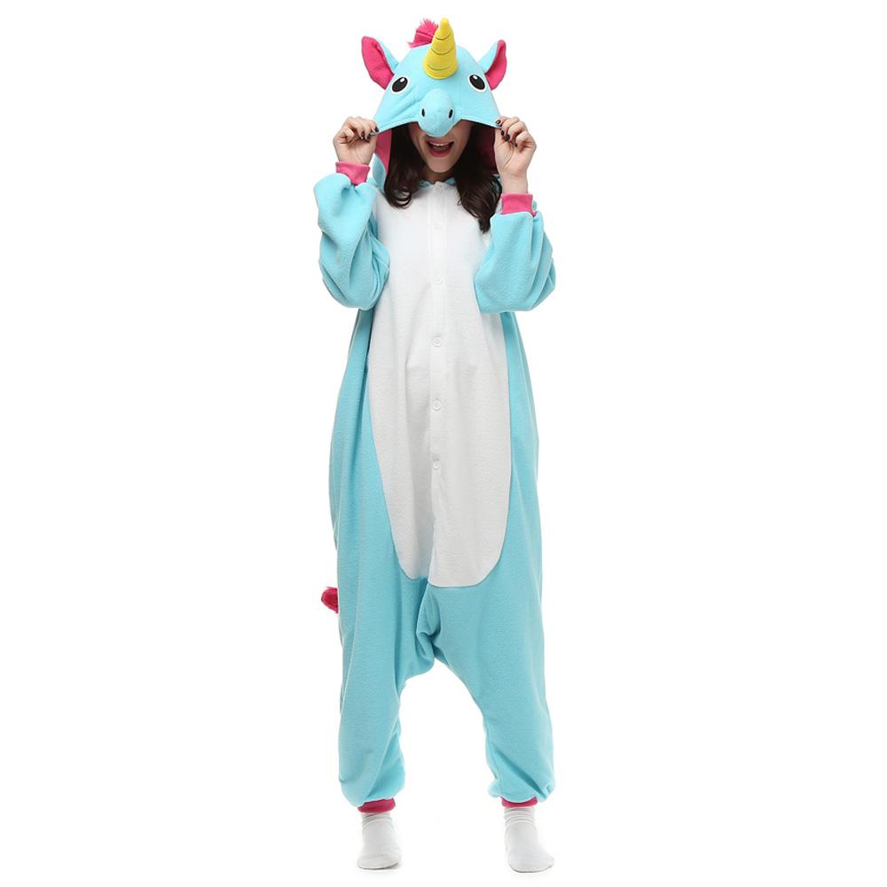 Blå Enhörning Kigurumi Kostym Polär Ull Pyjamas Onesie Halloween Festival
