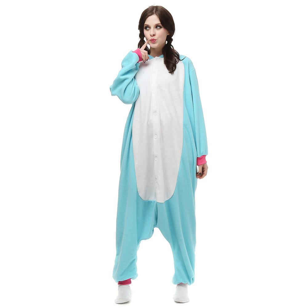 Blauw Eenhoorn Kigurumi Kostuum Unisex Vlies Pyjama Onesie