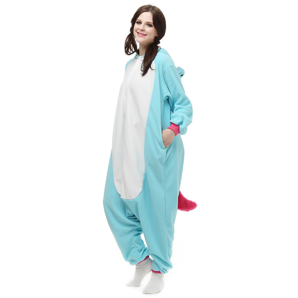 Blau Einhorn Kigurumi Kostüme Unisex Vlies Pyjama Gymnastikanzug/Einteiler