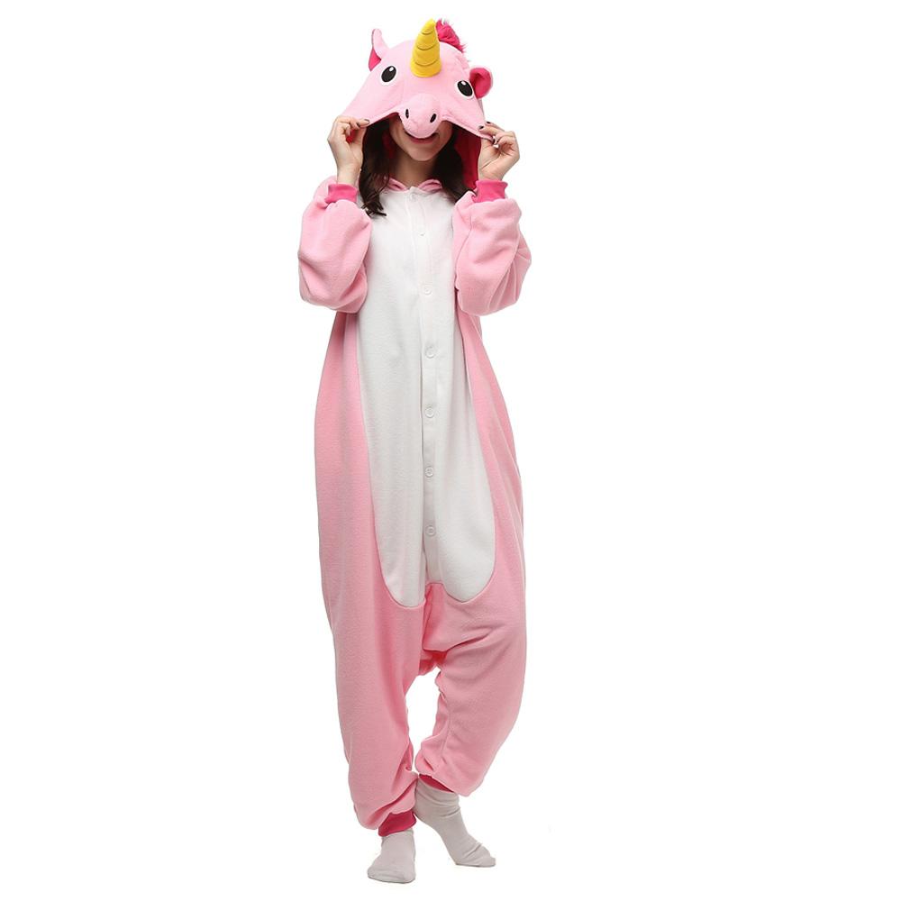 Rosa Unicórnio Kigurumi Fantasia Cosplay Lã Pijamas Onesie
