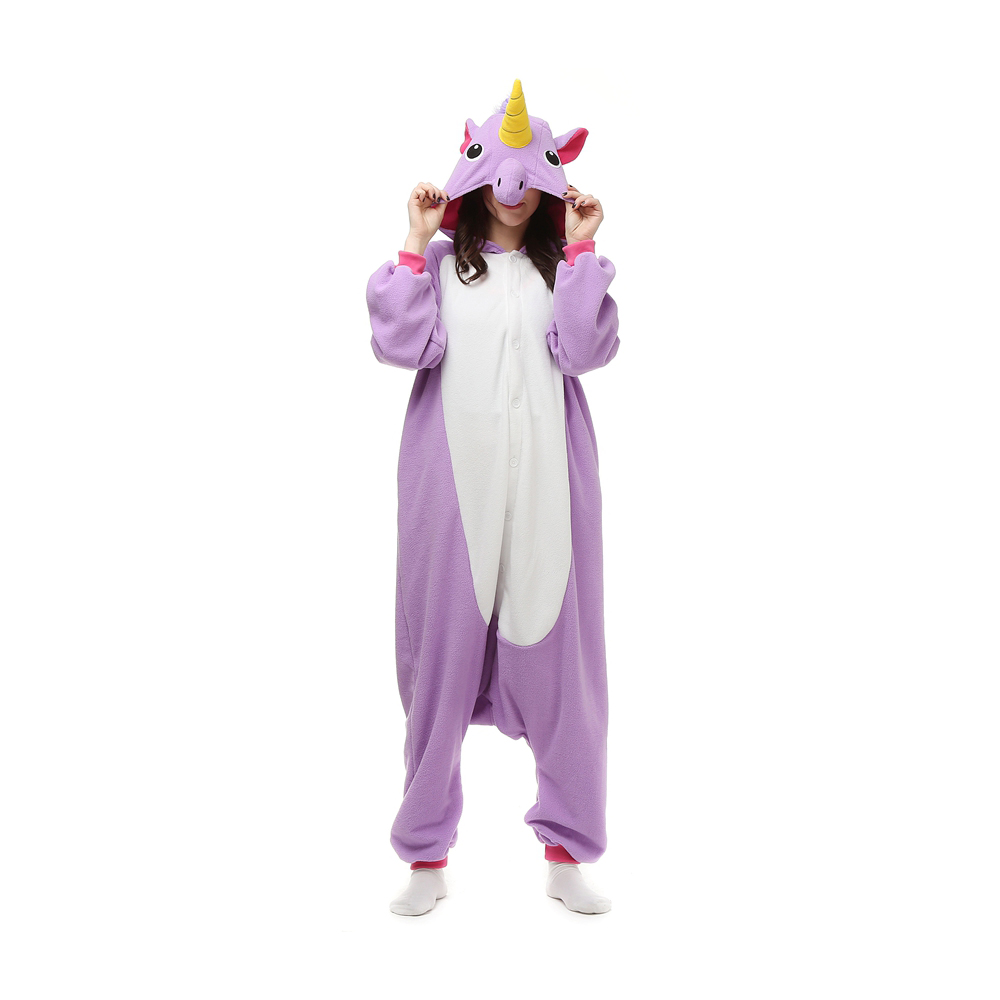 Roxa Unicórnio Kigurumi Fantasia Cosplay Lã Pijamas Onesie