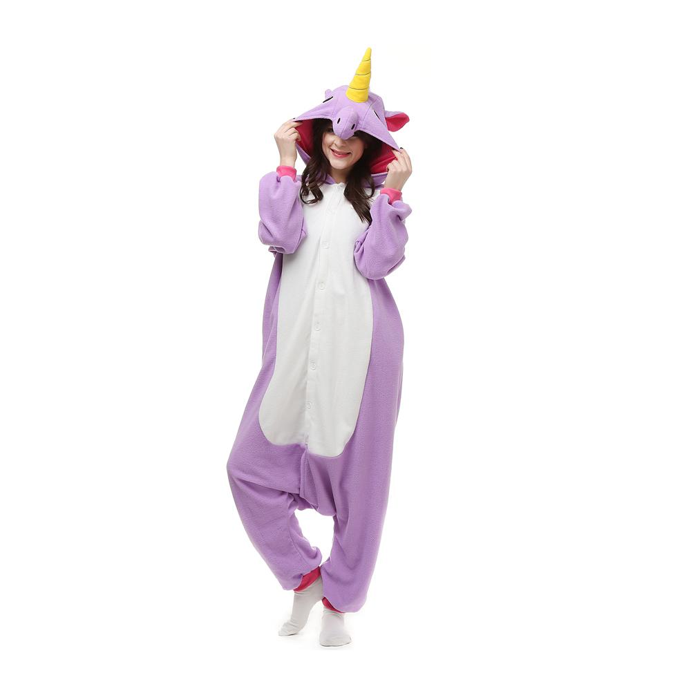 Lila Einhorn Kigurumi Kostüme Unisex Vlies Pyjama Gymnastikanzug/Einteiler