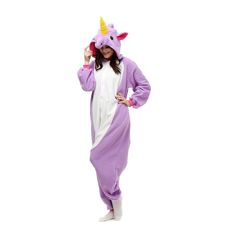 Purple Eenhoorn Kigurumi Kostuum Unisex Vlies Pyjama Onesie