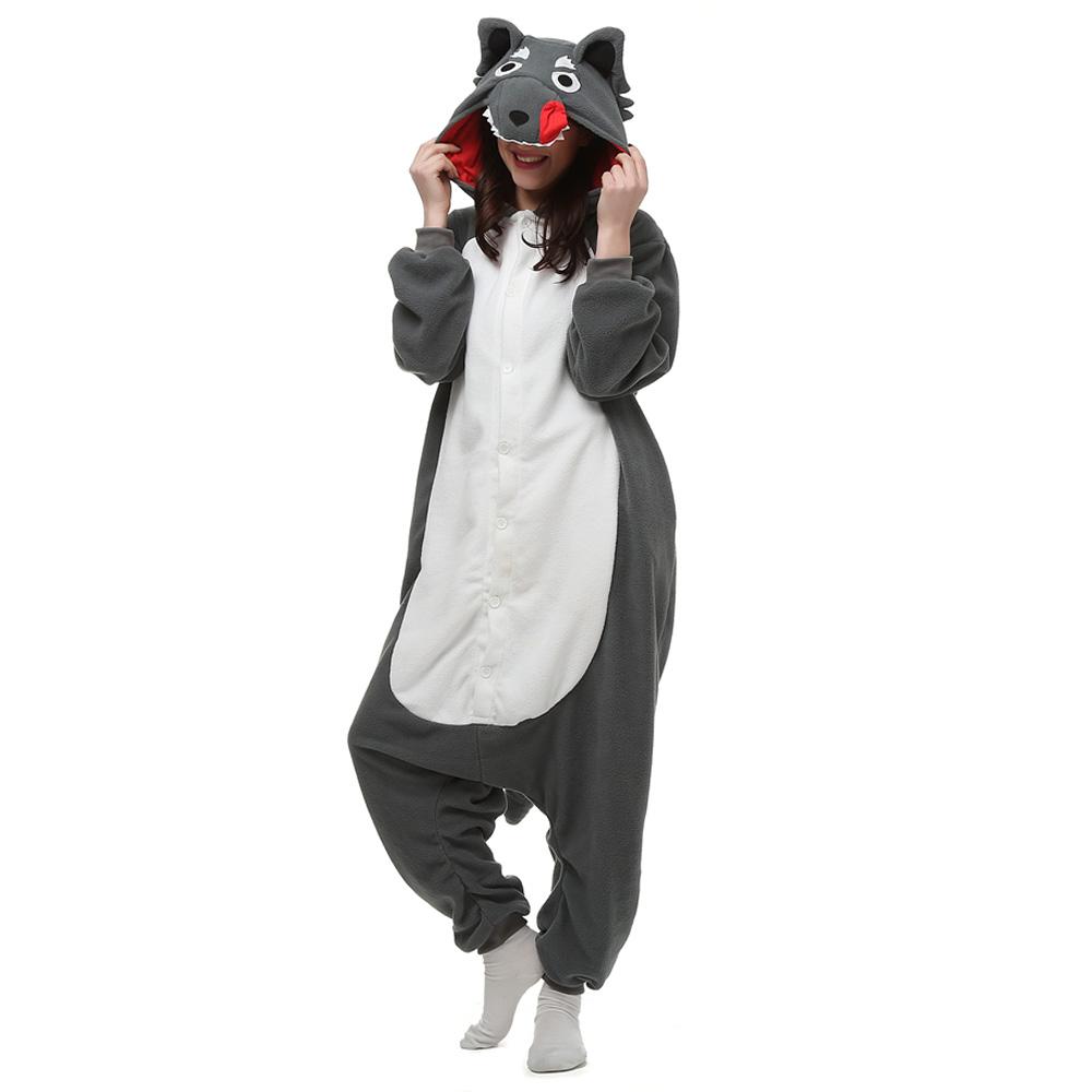 Gray Wolf Kigurumi Costume Unisex Fleece Pajamas Onesie