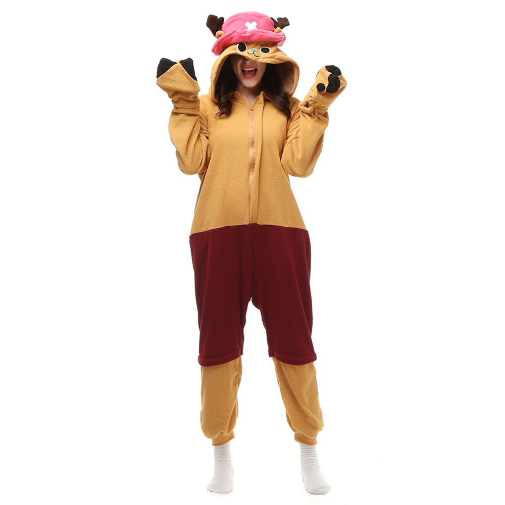 One Piece Tony Tony Chopper Kigurumi Costume Unisex Fleece Pajamas Onesie