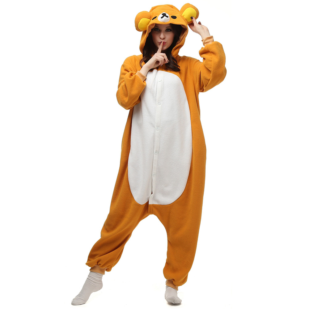 Rilakkuma Kigurumi Costume Unisex Fleece Pajamas Onesie