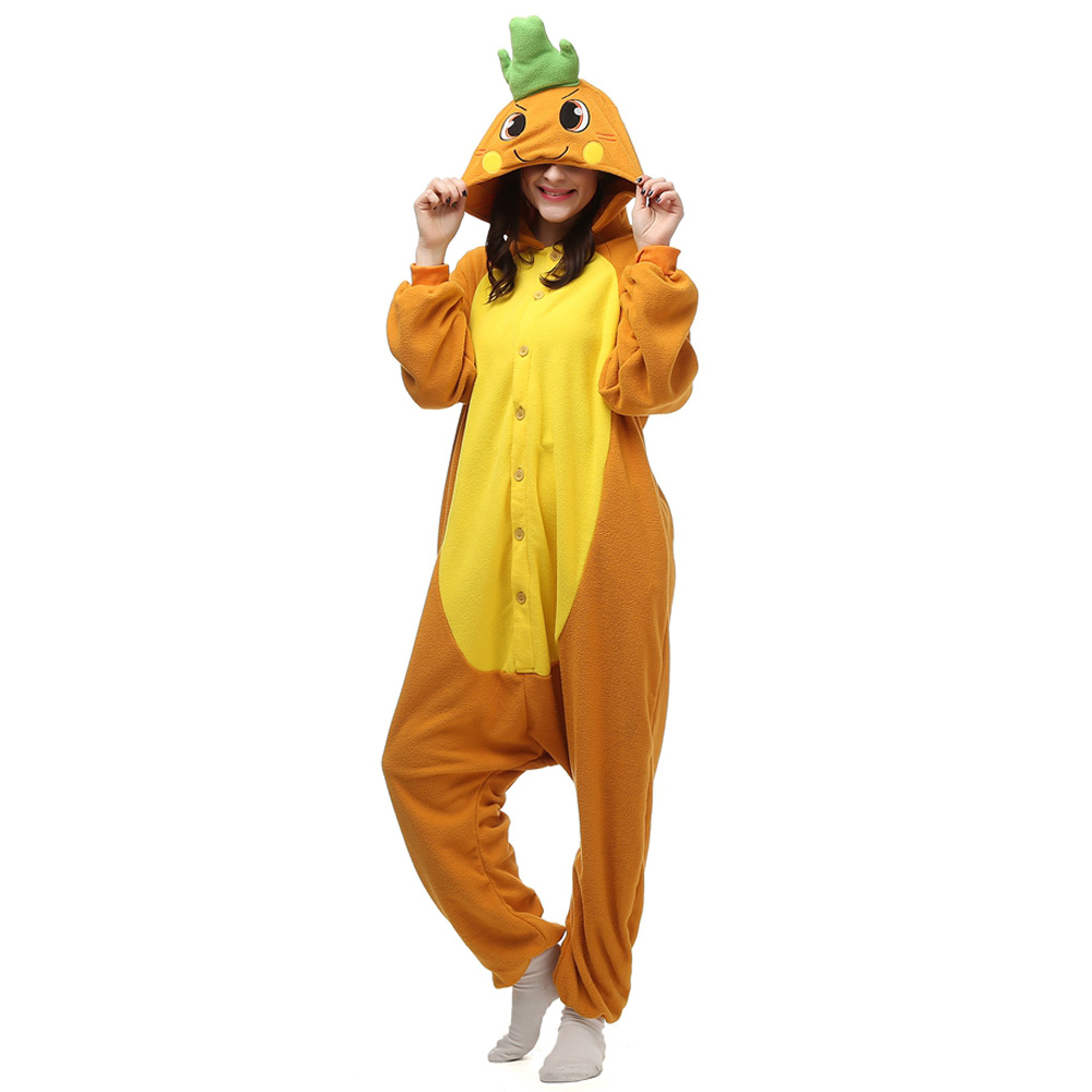 Carrot Kigurumi Costume Unisex Fleece Pajamas Onesie