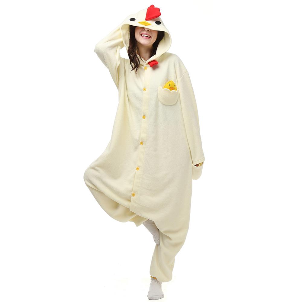 Branco Chicken Kigurumi Fantasia Cosplay Lã Pijamas Onesie