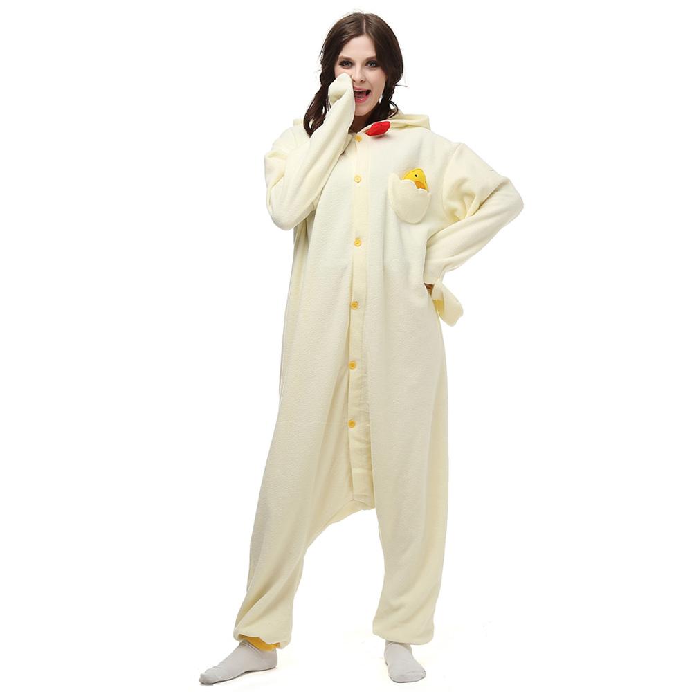 Wit Kip Kigurumi Kostuum Unisex Vlies Pyjama Onesie