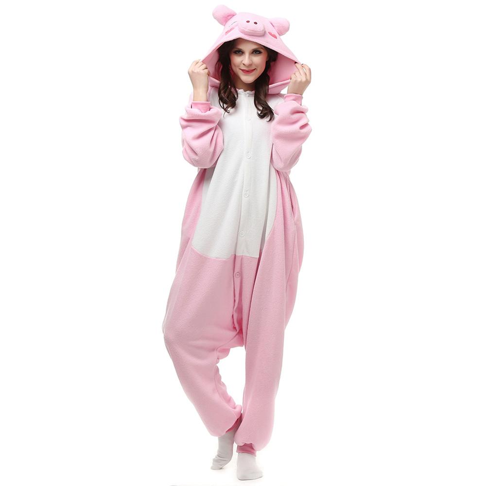 Roze Varken Kigurumi Kostuum Unisex Vlies Pyjama Onesie