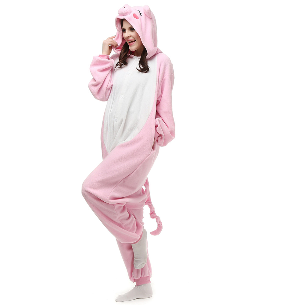Pink Pig Kigurumi Costume Unisex Fleece Pajamas Onesie