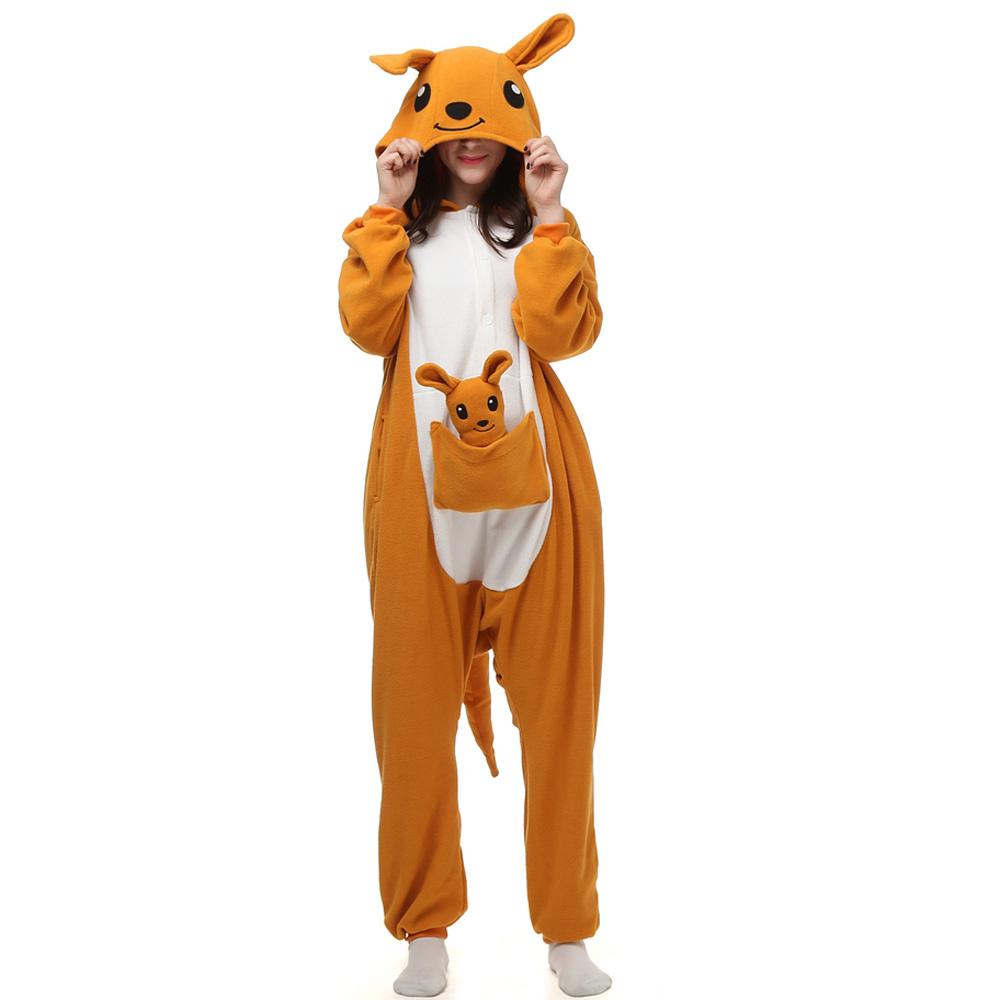 Canguru Kigurumi Fantasia Cosplay Lã Pijamas Onesie