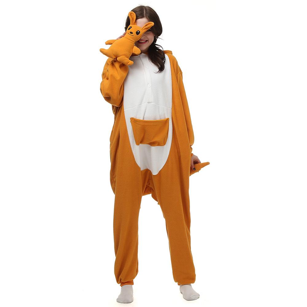 Kangaroo Kigurumi Costume Unisex Fleece Pajamas Onesie