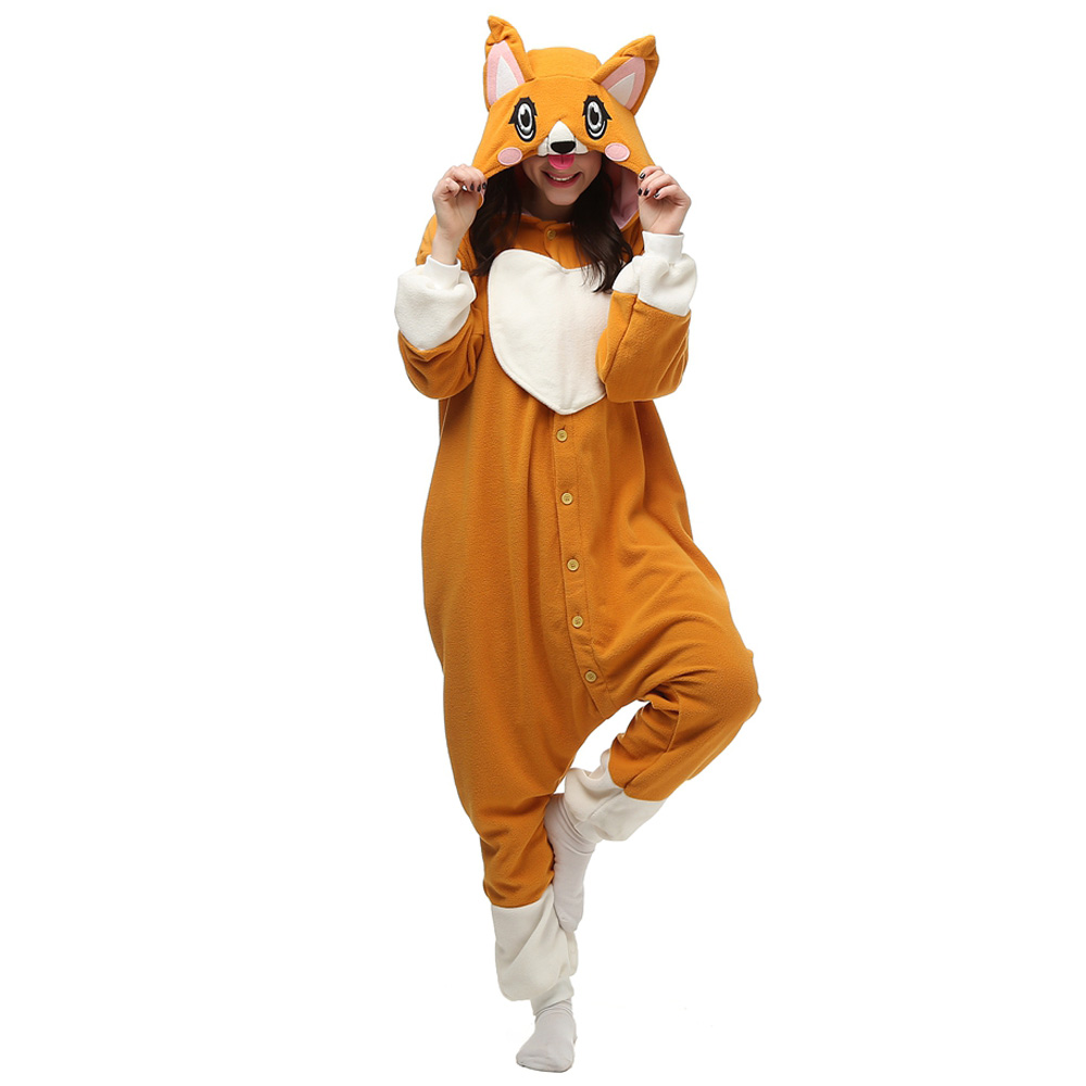 Big Eye Dog Kigurumi Costumi Unisex Fleece Pigiama Onesie