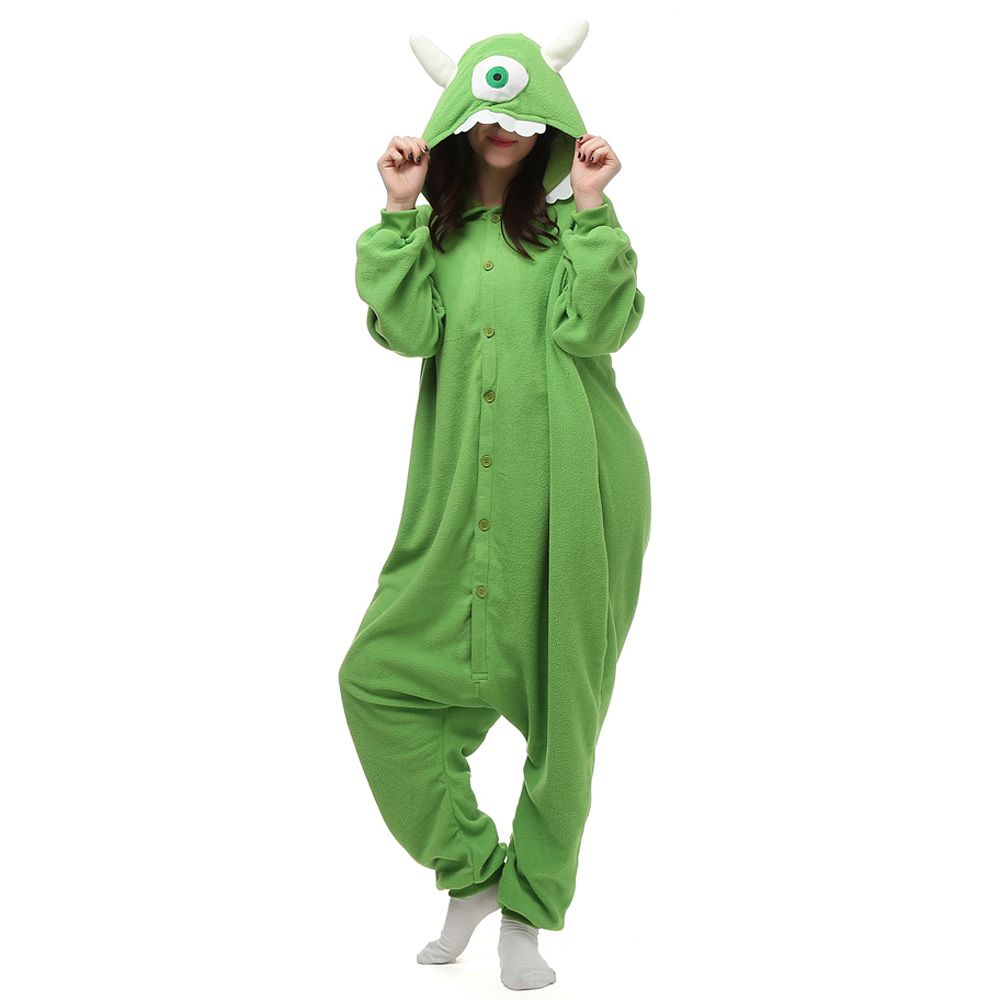 Mike Wazowski Kigurumi Kostym Polär Ull Pyjamas Onesie Halloween Festival