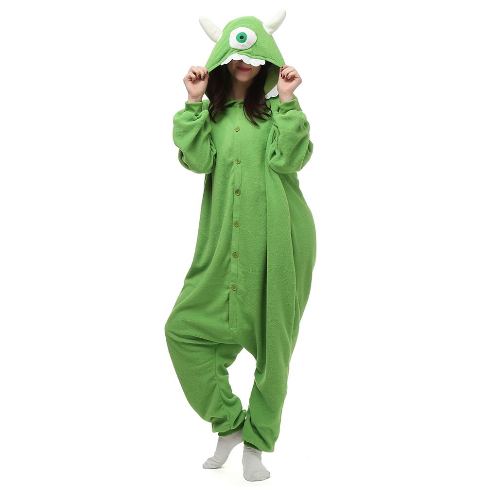 Mike Wazowski Kigurumi Costumi Unisex Fleece Pigiama Onesie